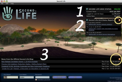 Second Life Login with Blog feed, Status Reports and RSS