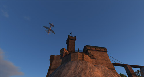 A mole flies past the castle.